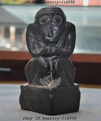 AOld Chinese Fengshui Stone Carved Animal Monkey Primitive Apes Statue Figurines