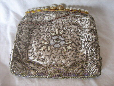 Vintage French silk lined beadwork purse bag with carrying chain & faux pearls