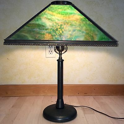 Antique 4 Panel Green Slag StainedGlass Brass Arts & Crafts Mission Lamp/4REPAIR