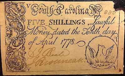 April 1778 South Carolina 5 Five Shillings Colonial Currency Very Rare Note Look