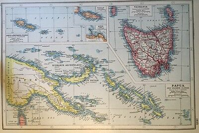 Vintage Antique Original 1920 Map Of Tasmania Papua & Samoa Print Great Framed