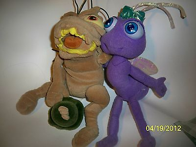 "Disney Pixar A Bug's Life Beanie Plush, P.T.Flea & Princess Dot, 9"" tall, lot /2"