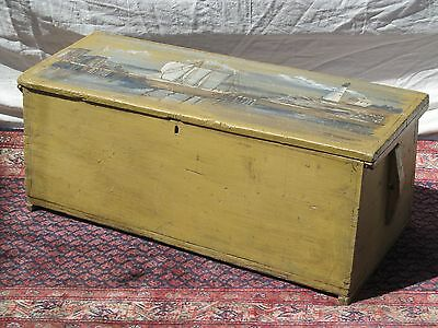 18Th Century Canted Sea Chest With 1944 Artist Painted Harbor & Lighthouse