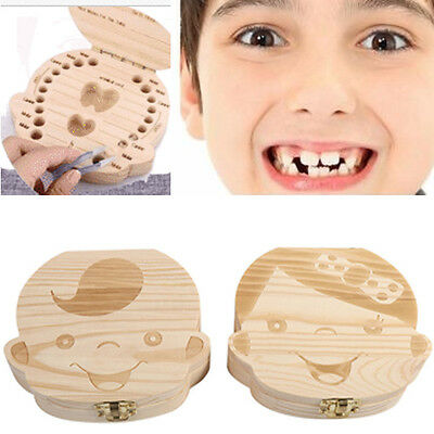 Baby Tooth Box Organizer Boy Girl Kids Milk Teeth Save Wood Storage Box Keepsake