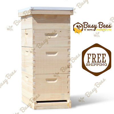 Langstroth Bee Hive 8 Frame 2 Deep 2 Medium (Includes all Frames & Foundations)