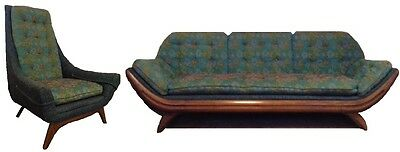 Vintage Mid-Century Gondola Couch Sofa & Gondola High Back Chair Pearsall-Style