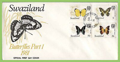 Swaziland 1982 Butterfly set on First Day Cover