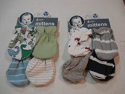 Gerber Baby Boys Mittens NEW 8 Pack Size 0-3 Months Dino Fire Trucks Stripes