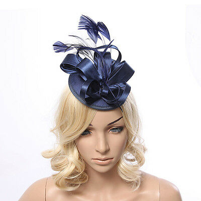 New Womens Flower Feather Fascinator Hat Clip Hair Wedding Proms Race Party Wear