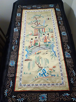 Antique Chinese Silk Panel with Gorgeous Embroidered Maidens Fishing