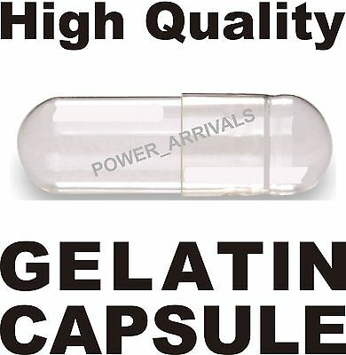 1000 SIZE 0 EMPTY GELATIN CAPSULES (Kosher) GEL CAPS PILL COLOR - CLEAR