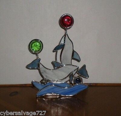 Dolphin Tea Light Candle Holder Stained Glass Dolphins Dolphin Balancing Act