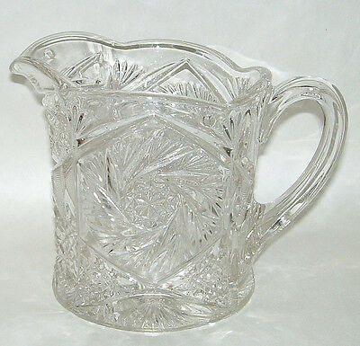 """Antique EAPG Ornate Whirling Star 6"""" Clear Glass Milk Cream Water Pitcher"""