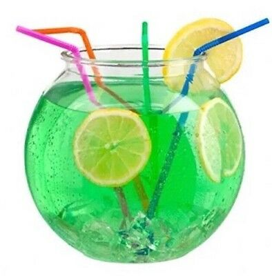 """24 X 2 Lt 6"""" Cocktail Fish Bowl Plastic + 24 Straws For Drink Party, Wedding"""