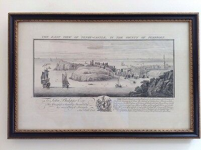 East view Tenby Castle Pembokeshire Nathaniel Buck 1740 FRAMED Engraving Print