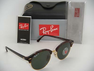 Ray-Ban Clubround RB 4246 990/58 51mm Havana Frame Green Polarized New Authentic
