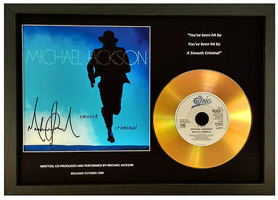 Michael Jackson 'smooth Criminal' Signed Gold Disc Display