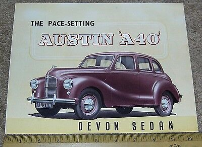 AUSTIN A40 DEVON SEDAN Car Dealer Sales Brochure Catalog NICE! late 1940's ?