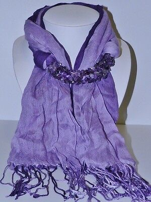 GENUINE! Uruguay Amethyst Encrusting Two Tone 100% Cotton Scarf!