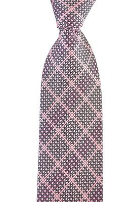 "Mens BRIONI dis.n. D050381 Pink Tweed Plaid Hand Made Woven 3.25"" Silk Tie NWT"