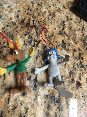 """Rocky and Bullwinkle 3"""" vintage figures christmas ornaments toppers"""