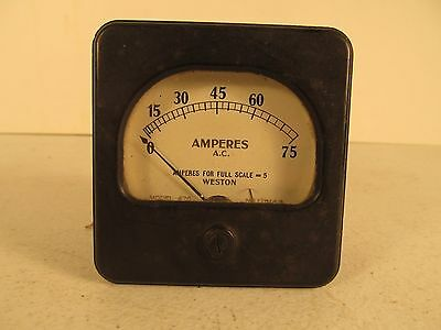 Weston Gauge Amperes A.C. Full Scale=5 0-75 Used Steampunk