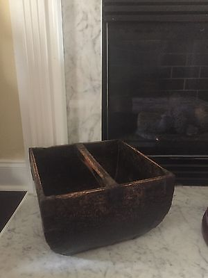 Antique Vintage Asian Wooden Rice Bucket Basket Home Decor