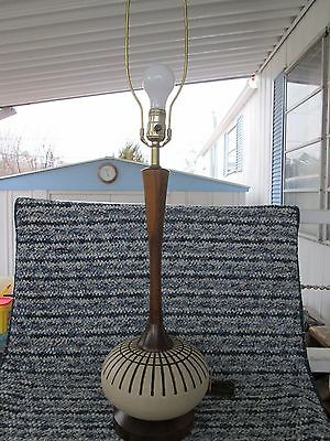 Mid Century Danish Modern walnut (teak interest) & pottery  lamp vintage 1960's