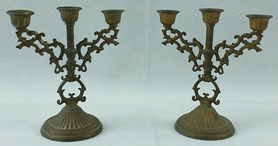 Vintage Pair Interpur Small Candle Holders Brass Made In Italy Candelabra