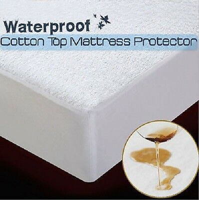 100% Cotton Flannel Waterproof Mattress Protector Cot bed Single Double King SK