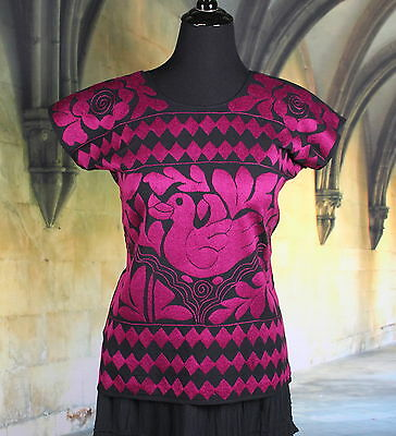 Hand Embroidered Maroon & Black Duck, Huipil / Blouse Jalapa Mexico Hippie, Boho