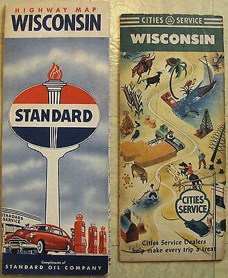 """WISCONSIN MAPS 1949 Cities Service, 1950s Standard Oil Company 26-3/4"""" x 20"""""""