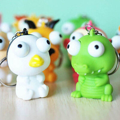 Funny Animal Squeeze Toy Pop Out Eyes Stress Relief Key Chain Color Random 2PCS