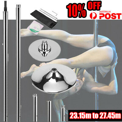 DANCE POLE PORTABLE SPINNING HOME GYM DANCING YOGA FITNESS+2x EXTENSIONS AU POST