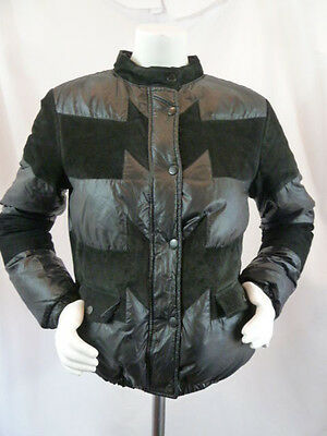 ADIDAS ORIGINALS Black Quilted Down Puffer Suede Womens Coat Jacket S Small