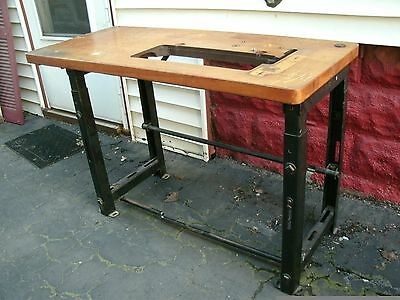 vintage wood steel industrial sewing machine table -pickup only [Buffalo]