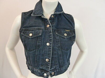 Z CAVARICCI Vintage Dark Wash Retro Cropped Denim Biker Trucker Jean Vest SMALL