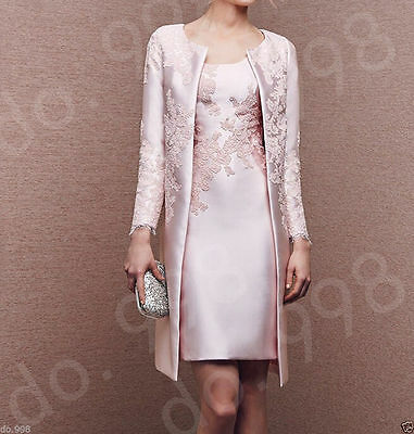 Mother Of The Bride Dress Tea Length Party Evening Gown With Long Jacket Custom