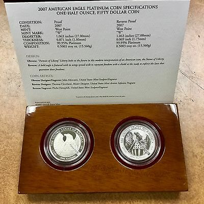 {BJSTAMPS} American Eagle 2007 Platinum Proof 10th Anniversary set 2  $50 1/2oz
