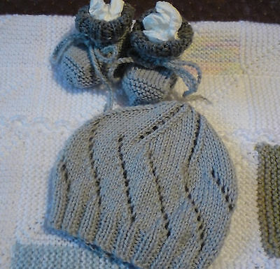 Baby Beanie & Booties Set, Boy/girl, 2 Tones Grey, Handknitted By Me