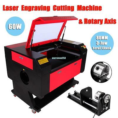 60w USB Port CO2 Laser Engraver Cutter Cutting Engraving Machine w/ Rotary Axis
