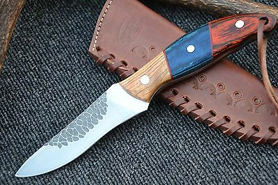 "HUNTEX Hand-Forged Japanese 440c Steel 8.6"" Long Wooded Hunting Knife"