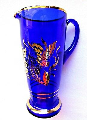 "WATER JUICE JUG COBALT & GOLD GILD."" ITALY ""  perfect 10 1/4"""