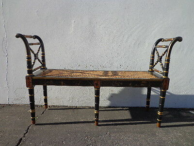 Cane Bench Chinoiserie Chinese Country Regency Chippendale Settee Bed Seat Wood