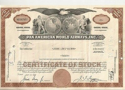 Pan American World Airways hist. Aktie  USA Fluglinie Luftfahrt Transport Pan Am