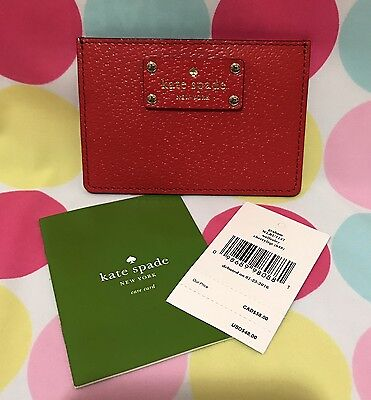 NEW Kate Spade Graham Wellesley Leather Card Case Holder in Cherry Liquor Red