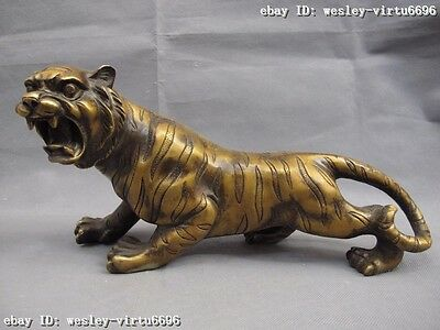 17cm Chinese Folk Copper Bronze Lucky Feline animal  Ferocious tiger  Statue