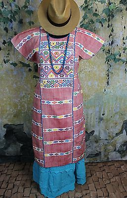 Red & Multi-Color Amuzgo Huipil Dress Hand woven Mexico Cowgirl Hippie Boho