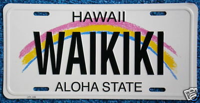 "Hawaiian ""WAIKIKI"" Novelty License Plate from Hawaii"