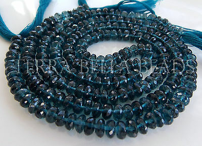 15 pc London blue TOPAZ faceted gem stone rondelle beads 6mm